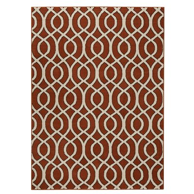 Jenna Burnt Orange/Ivory Area Rug Rug Size: Round 33