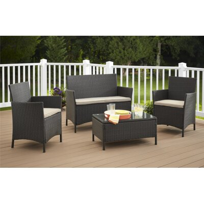 Amber 4 Piece Seating Group with Cushions Finish: Dark Brown