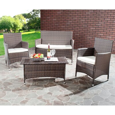 Skylar 4 Piece Deep Seating Group with Cushion Finish: Light Brown with Cream Cushions