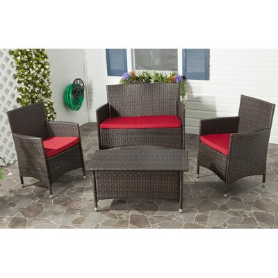 Skylar 4 Piece Deep Seating Group with Cushion Finish: Dark Brown with Red Cushions