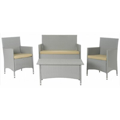 Skylar 4 Piece Deep Seating Group with Cushion Finish: Aluminum with Grey/Beige Cushions