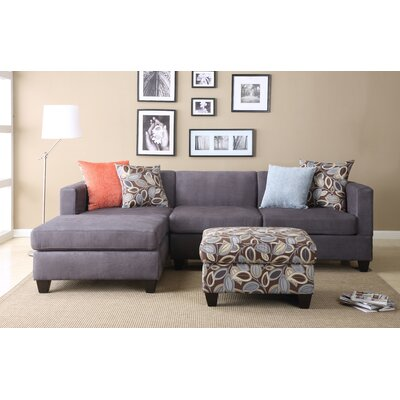 Ashtyn Reversible Chaise Sectional Upholstery: Charcoal