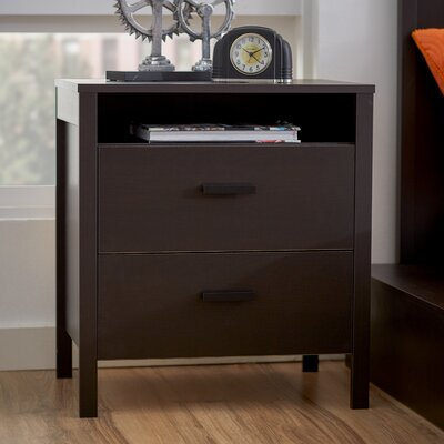 Lorraine 2 Drawer Nightstand Color: Coffee