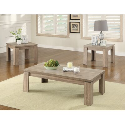 Norma 3 Piece Coffee Table Set Finish: Weathered Brown