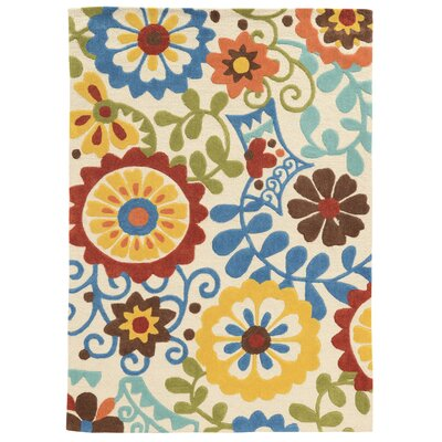Beaded Hand-Tufted Blue/Beige/Yellow Area Rug Rug Size: 110 x 210