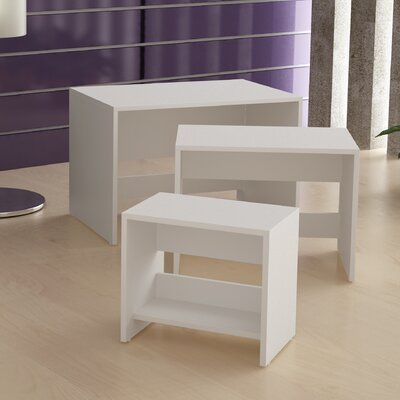 Erica 3 Piece Nesting Tables Color: White