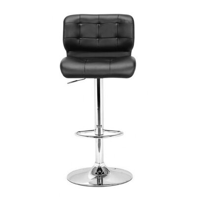 Fabrizio Adjustable Height Swivel Bar Stool with Cushion Upholstery: Black