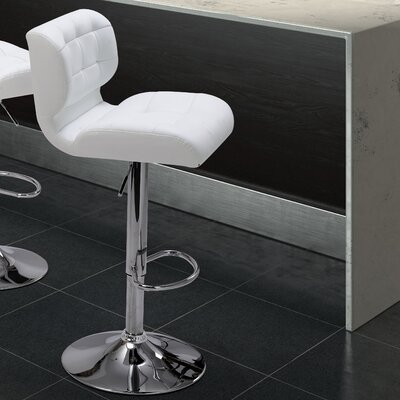 Fabrizio Adjustable Height Swivel Bar Stool with Cushion Upholstery: White