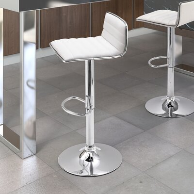 Fatima Adjustable Height Swivel Bar Stool Upholstery: White