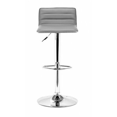 Fatima Adjustable Height Swivel Bar Stool Upholstery: Gray