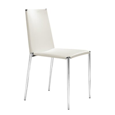 Zaria Dining Chair with Leatherette Seat Finish: White