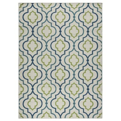 Lucia Ivory/Green/Navy Blue Indoor/Outdoor Area Rug Rug Size: Rectangle 33 x 53