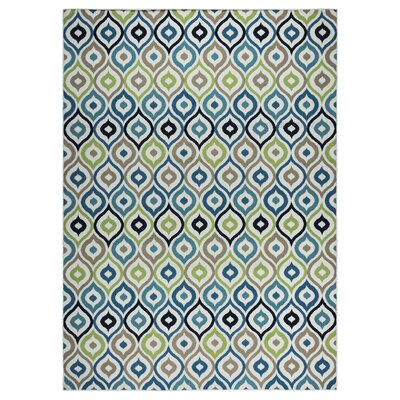 Lucia Ivory/Navy Indoor/Outdoor Area Rug Rug Size: Rectangle 53 x 77