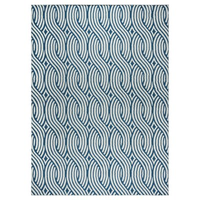 Lucia Blue/Gray Indoor/Outdoor Area Rug Rug Size: Rectangle 53 x 77
