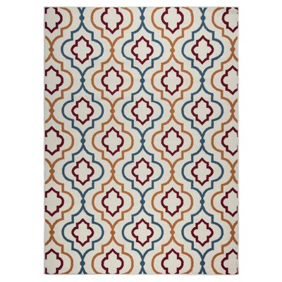 Lucia Blue/Orange Indoor/Outdoor Area Rug Rug Size: Rectangle 53 x 77