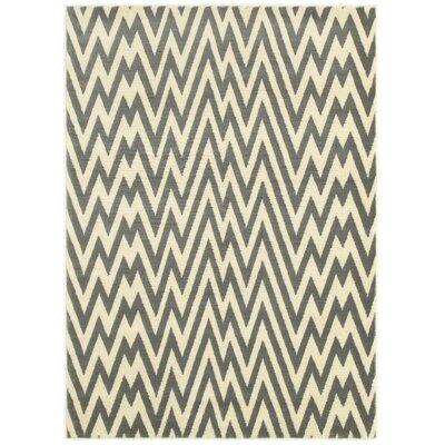 Ayden Grey/White Area Rug Rug Size: 37 x 56