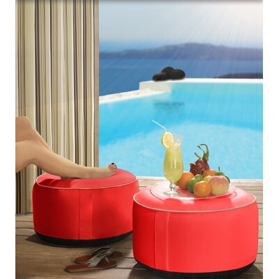 Rosalinda Inflatable Ottoman Upholstery: Red