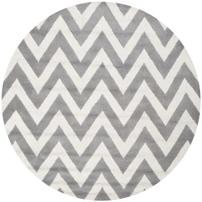 Daveney Hand-Tufted Wool Silver/Ivory Area Rug Rug Size: Round 8'