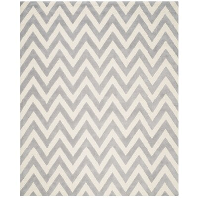 Daveney Hand-Tufted Silver/Ivory Area Rug Rug Size: 76 x 96