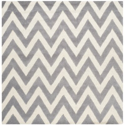 Daveney Hand-Tufted Wool Silver/Ivory Area Rug Rug Size: Square 6