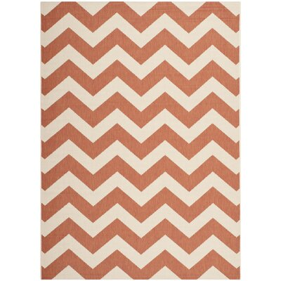 Mullen Terracotta/Beige Indoor/Outdoor Area Rug Rug Size: Rectangle 53 x 77