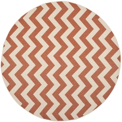 Mullen Terracotta/Beige Indoor/Outdoor Area Rug Rug Size: Round 710