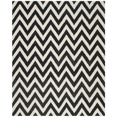 Daveney Hand-Tufted Wool Black/Ivory Area Rug Rug Size: Rectangle 8 x 10