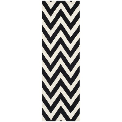 Daveney Hand-Tufted Wool Black/Ivory Area Rug Rug Size: Runner 26 x 6