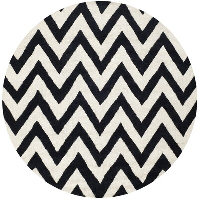 Daveney Hand-Tufted Wool Black/Ivory Area Rug Rug Size: Round 8