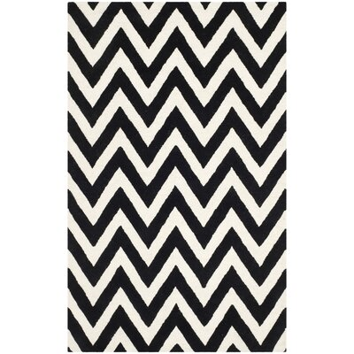 Kyleigh Hand-Tufted Black/Ivory Area Rug Rug Size: 5 x 7