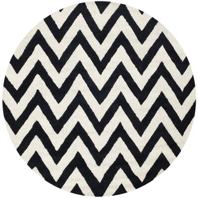 Daveney Hand-Tufted Black/Ivory Area Rug Rug Size: Round 8