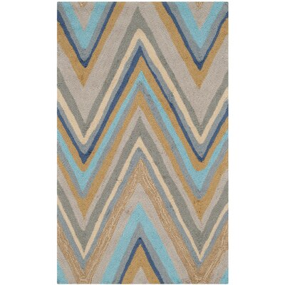 Hayes Hand-Hooked Green Indoor / Outdoor Area Rug Rug Size: Rectangle 23 x 39