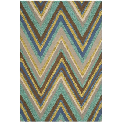 Hayes Hand-Hooked Blue Indoor / Outdoor Area Rug Rug Size: Rectangle 4 x 6