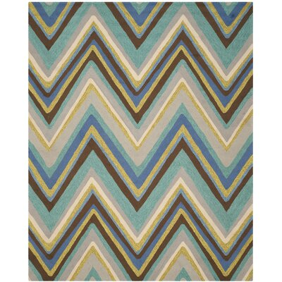 Hayes Hand-Hooked Blue Indoor / Outdoor Area Rug Rug Size: Rectangle 8 x 10