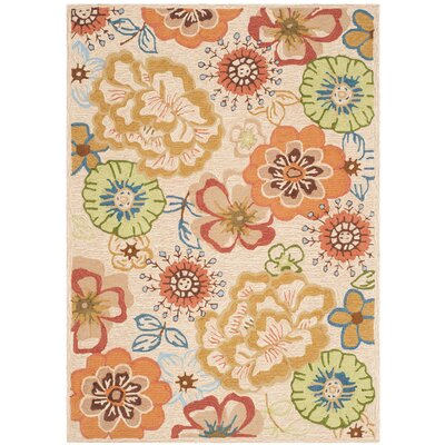 Josephine Hand-Hooked Beige / Red Indoor / Outdoor Area Rug Rug Size: Rectangle 4 x 6
