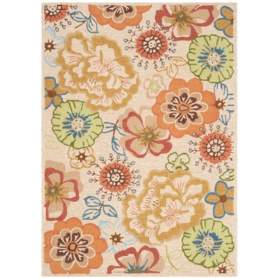 Josephine Hand-Hooked Beige / Red Indoor / Outdoor Area Rug Rug Size: 4 x 6