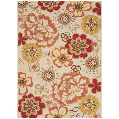 Josephine Hand-Hooked Ivory / Red Indoor / Outdoor Area Rug Rug Size: 5 x 7