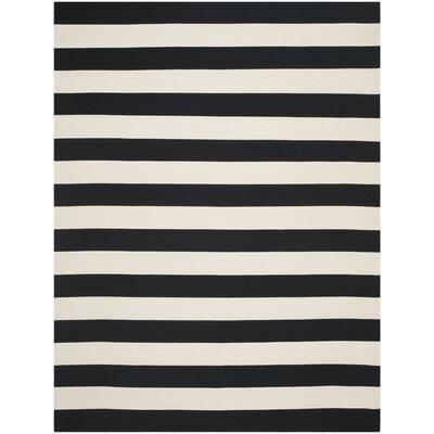 Skyler Hand-Woven Black / Ivory Area Rug Rug Size: 12 x 15