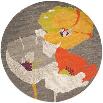 Nanette Dark Grey / Ivory Area Rug Rug Size: Round 67