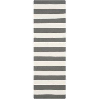 Skyler Hand-Woven Grey / Ivory Area Rug Rug Size: Runner 23 x 6