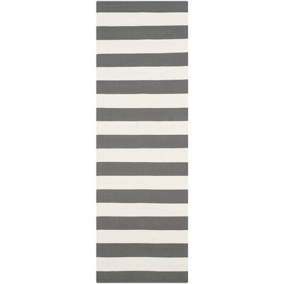 Skyler Hand-Woven Grey / Ivory Area Rug Rug Size: Runner 23 x 9