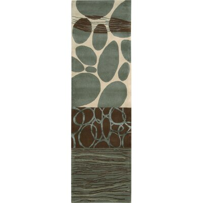 Nevada Hand-Tufted Wool Green/Blue Area Rug Rug Size: Runner 2 x 7