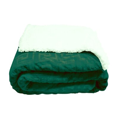Ronda Textured Sherpa Throw Blanket Color: Dark Green