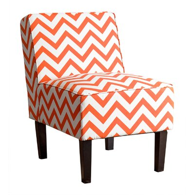 Ana Chevron Slipper Chair Upholstery: Orange