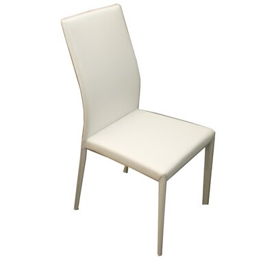 Ethel Genuine Leather Upholstered Dining Chair (Set of 2) Upholstery: White Reg. Leather
