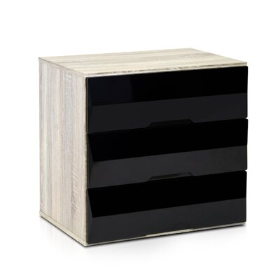 Anya 3 Drawer Chest Color: Sonoma Oak/Black