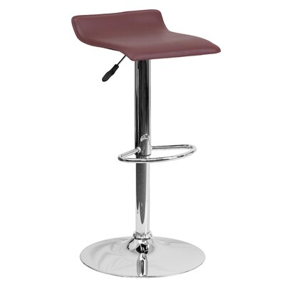 Claudine Adjustable Height Swivel Bar Stool Upholstery: Burgundy