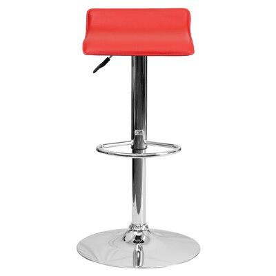 Claudine Adjustable Height Swivel Bar Stool Upholstery: Red