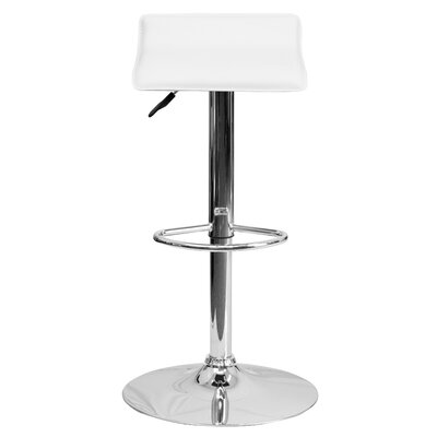 Claudine Adjustable Height Swivel Bar Stool Upholstery: White