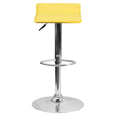 Claudine Adjustable Height Swivel Bar Stool Upholstery: Yellow